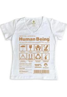 Camiseta Gola V Cool Tees Seres Humanos Feminina - Feminino-Branco