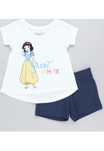 Conjunto Infantil Branca De Neve De Blusa Manga Curta Off White + Short Em Moletom Azul Marinho