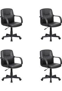 Conjunto Com 4 Cadeiras De Escritório Secretária Giratórias Clean Preto