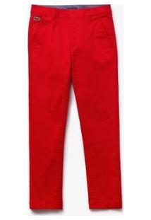 Calça Lacoste Com Stretch Masculina - Masculino-Vermelho