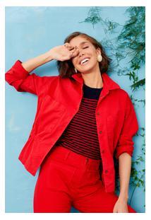 Casaco Sarja Com Regulador Vermelho Hibisco/M
