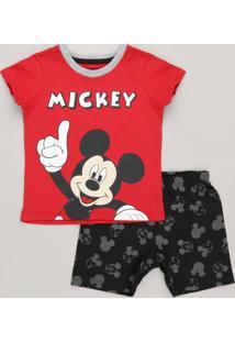 Pijama Infantil Mickey Manga Curta Gola Careca Vermelho