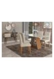 Conjunto De Mesa De Jantar Retangular Alana Com Vidro E 4 Cadeiras Milena Suede Bege E Off White