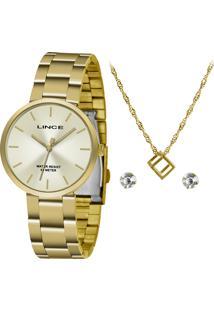 Kit Relógio Analógico Lince Feminino + Colar Com Brincos - Lrgh079L Kv27C2Kx Dourado