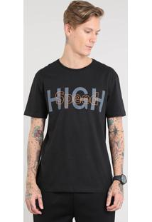 "Camiseta Masculina Esportiva Ace ""High Speed"" Manga Curta Gola Careca Preta"