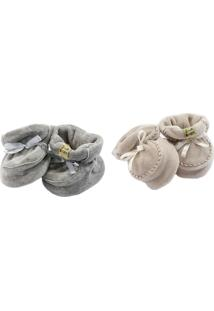 Kit Sapatinho Girelli Baby Cinza/Bege