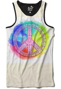 Regata Long Beach Simbolo Da Paz Mandala Aquarela Sublimada Branco 7a52bbd5c9f