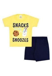 Pijama Bebê Masculino Camiseta Manga Curta Amarela Biscoito E Shorts Marinho (1/2/3) - Jidi Kids - Tamanho 3 - Amarelo,Azul Marinho