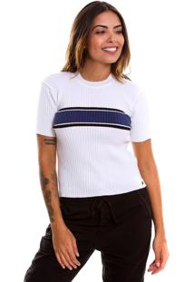 Camiseta Le Julie De Tricot Canelado Branca