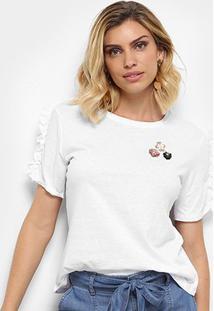 Camiseta Facinelli Babados Flores Feminina - Feminino-Branco