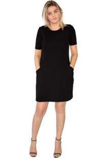 Vestido Curto Liso Bolso Decote U Conforto Casual Feminino - Feminino-Preto
