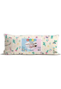 Travesseiro Body Pillow Kids- Bege & Verde- 65X30Cm