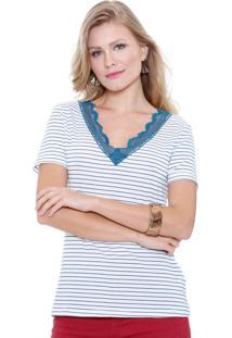 Blusa Feminina Listrada Com Renda Marisa
