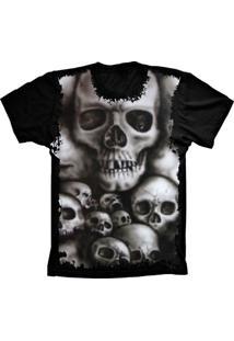 Camiseta Manga Curta Lu Geek Caveiras Skulls Preto
