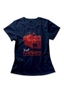 Camiseta Feminina Visit Mars Azul Marinho