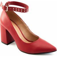 535abfc899 Scarpin Salto Bloco Offline - Feminino-Vermelho