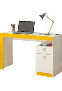 Mesa Para Computador Com 1 Porta E 1 Gaveta Melissa – Permóbili - Branco / Amarelo