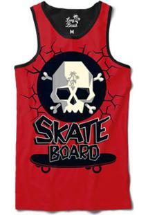 Camiseta Regata Long Beach Caveira Skate Sublimada Masculina - Masculino -Vermelho 949bff51d95