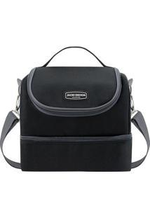Bolsa Térmica- Preta & Cinza Escuro- 23X21X15Cm-Jacki Design