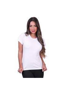 Camisa Lisa Feminina Basica Algodão Camiseta Tshirt Branco