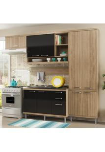 Cozinha Compacta 9 Portas 3 Gavetas Sicília Balcão P/ Pia 5838 Preto/Argila - Multimóveis