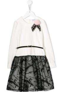 Monnalisa Vestido Com Tule E Estampa De Logo - Branco