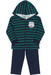 Conjunto Infantil Jaqueta E Calça Em Moletom Bee Loop Masculino - Masculino-Azul Escuro