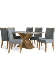 Mesa Para Sala De Jantar Com 6 Cadeiras Ba29-Kappesberg - Freijo / Cinza