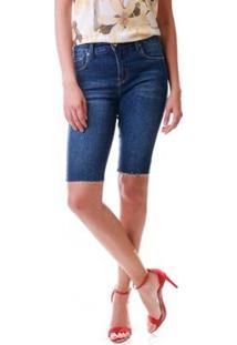 Bermuda Jeans Multi Ponto Denim Ciclista Escura Azul - Feminino-Jeans
