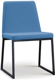 Cadeira Yanka Aço Preto Linho Azul Jeans Daf