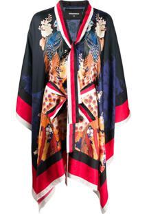 Dsquared2 Kimono Com Estampa Japonesa - Azul