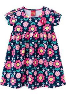 Vestido Infantil - Algodão E Poliéster - Floral - Azul Marinho - Kyly - 3