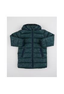 Jaqueta Infantil Estampada Geométrica Com Capuz Verde Escuro