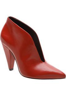 Ankle Boot Em Couro - Vermelha- Salto: 9,8Cmschutz