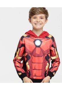 Casaco Infantil Moletom Homem De Ferro Marvel Masculino - Masculino-Vermelho