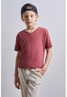 Camiseta Infantil Gola V Textura Reserva Mini Masculina - Masculino-Bordô