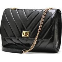 9747c327f Bolsa Hendy Bag Couro Verniz - Feminino-Preto