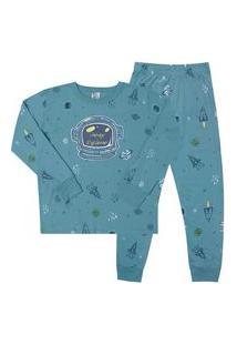 Pijama Meia Malha - 46572-1192 - (1 A 3 Anos) Pijama Rotativo Aqua - Primeiros Passos Menino Meia Malha Ref:46572-1192-1