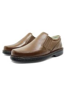 Sapato Masculino Soft Conforto Em Couro Cor Havana 310