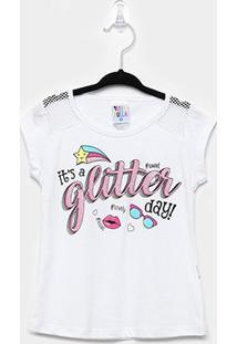 Blusa Infantil Pulla Bulla Glitter Feminina - Feminino-Branco