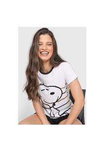 Camiseta Snoopy By Fiveblu Listras Branca