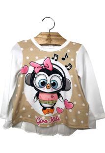 Camiseta Gira Baby Kids Pinguim Bege