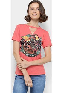Camiseta Coca-Cola Estampada Decote V Feminina - Feminino