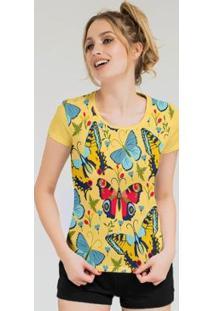 Camiseta Stompy Feminina Estampada 12 - Feminino-Amarelo