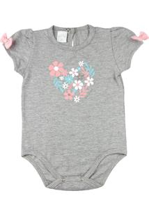 Body Bebê Cotton Conforto Ano Zero Silk Flores E Lacinhos Mescla