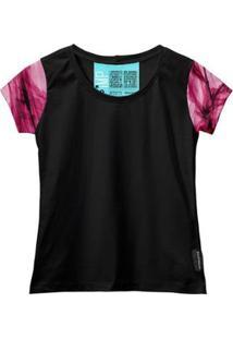 Camiseta Baby Look Feminina Algodão Estampa Estilo Leve Moda - Feminino-Rosa+Preto