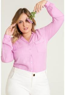 Camisa Lilás Plus Size Decote V