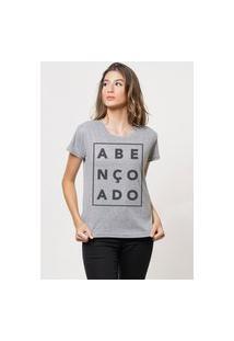 Camiseta Jay Jay Básica Abençoado Cinza Mescla