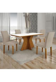 Conjunto De Mesa De Jantar Creta Ii Com 4 Cadeiras Olímpia Veludo Branco E Palha