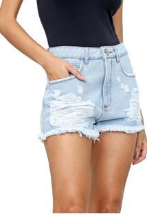 Short Jeans Lança Perfume Hot Pant Destroyed Azul